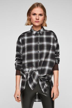 geruite blouse zwart