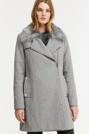 coat met wol en imitatie bontkraag grijs