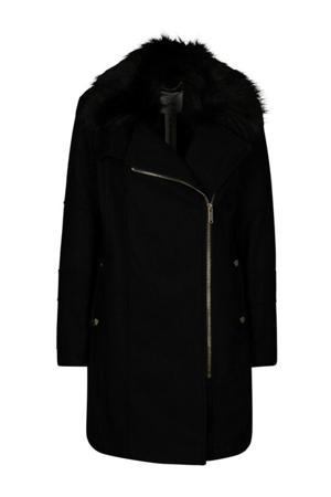 coat met wol en imitatiebontkraag zwart