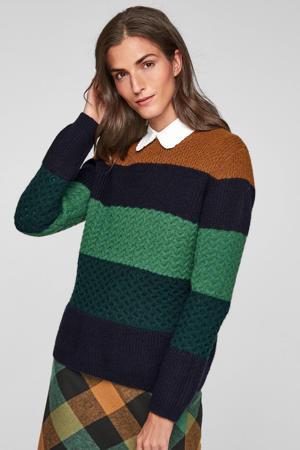 gebreide trui met wol groen/marine/bruin