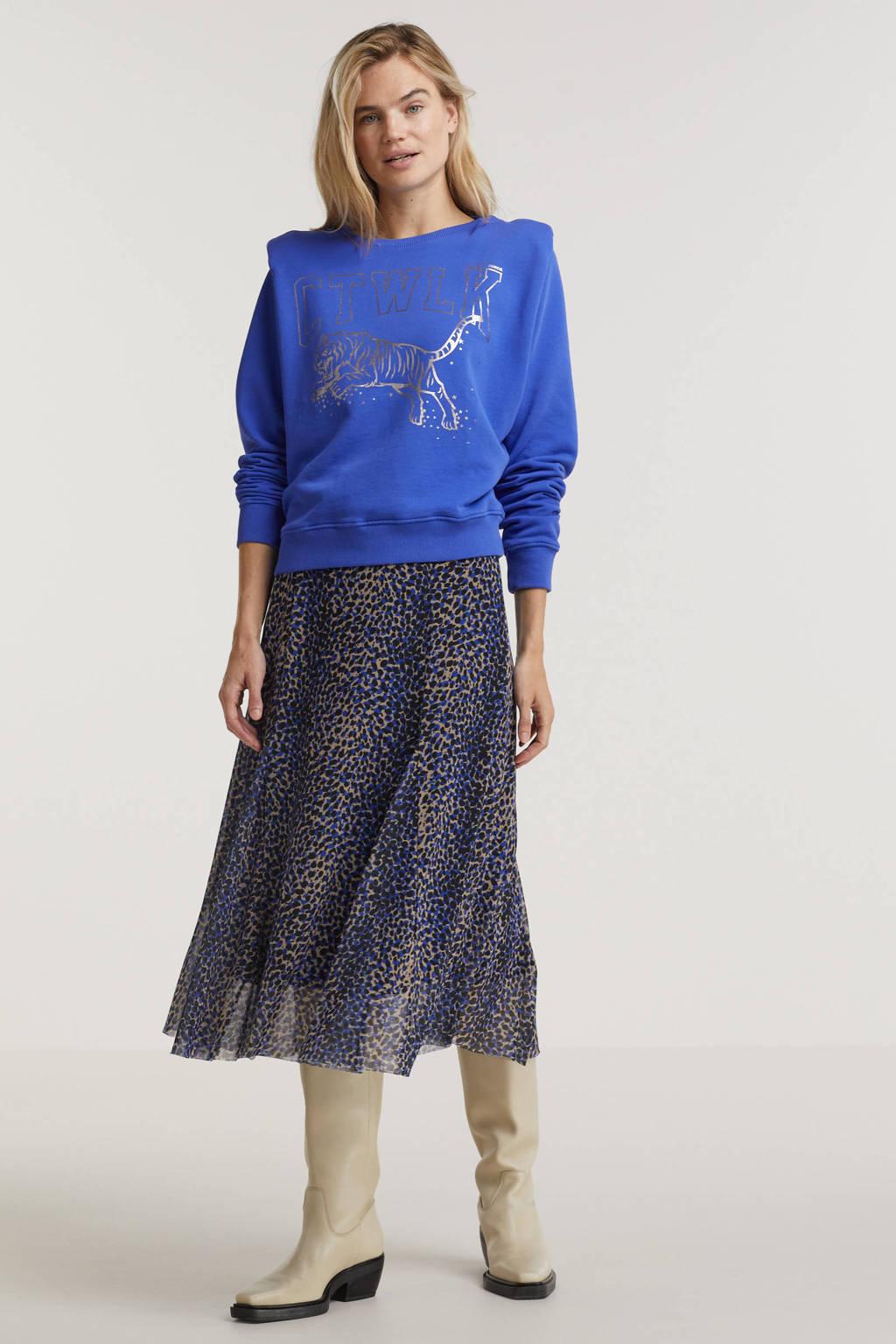 Catwalk Junkie sweater Tiger van biologisch katoen blauw, Blauw