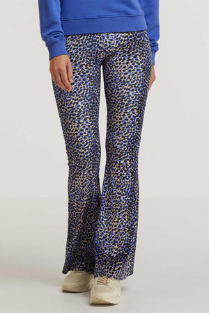 high waist flared broek Jungle Leopard met all over print blauw