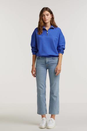 sweater Sporty met sierstenen blauw