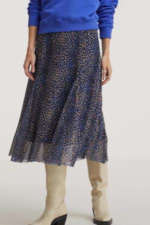 semi-transparante midi rok Jungle Leopard met all over print blauw