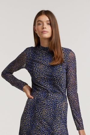 semi-transparante longsleeve Jungle Leopard met all over print blauw