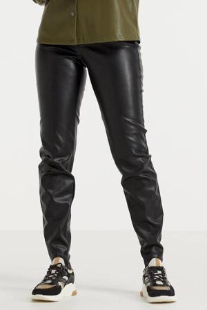 high waist slim fit broek NMCALLIE zwart
