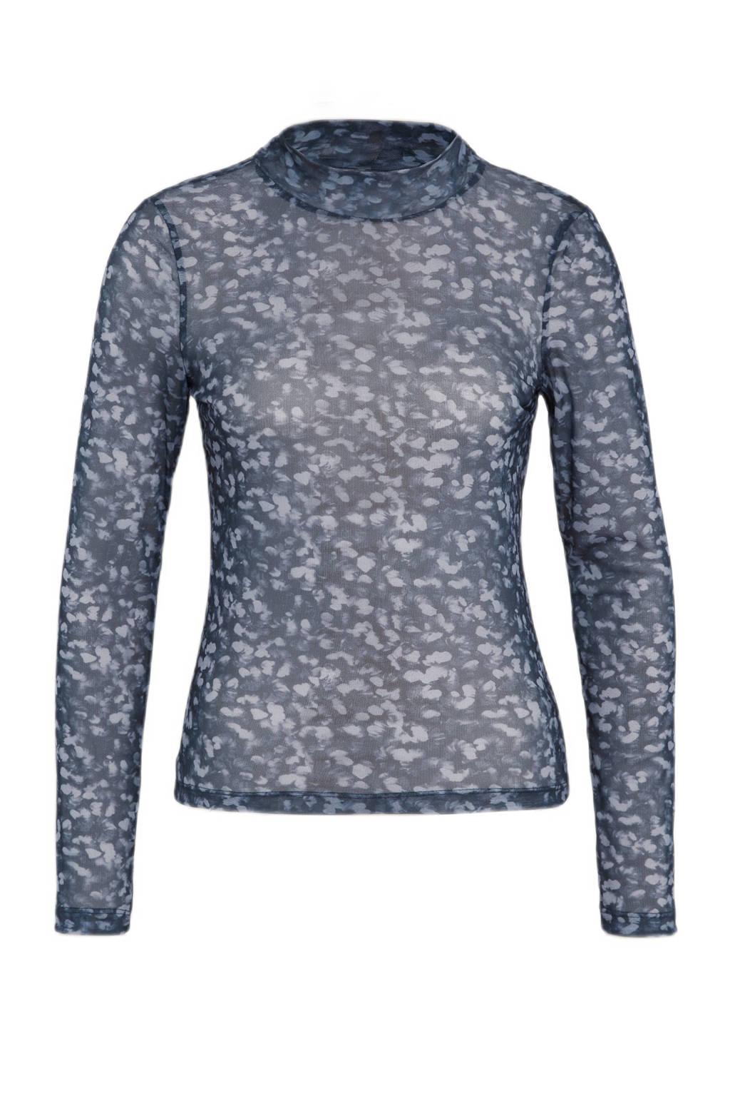 ONLY semi-transparante top ONLASTA met all over print en mesh donkerblauw/wit, Donkerblauw/wit