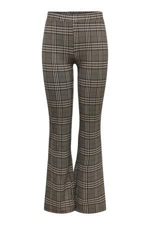 geruite high waist flared broek JDYMANDY bruin/zwart