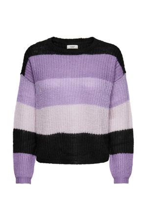 gestreepte gebreide trui JDYBADUT paars/zwart/lichtroze