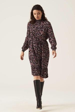 jurk met all over print en volant roze/zwart/rood/ecru