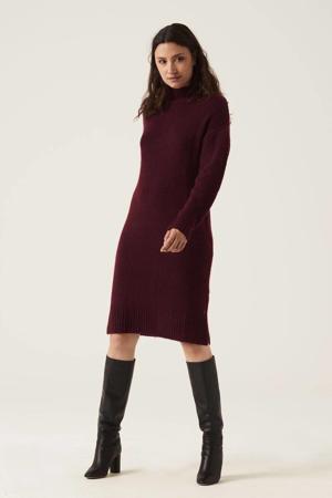 gebreide jurk met wol donkerrood