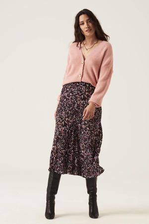 midi rok met all over print en plooien roze/zwart/rood/ecru