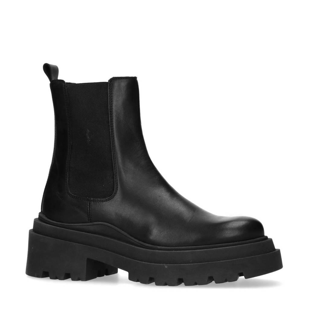 Manfield   leren chunky chelsea boots zwart, Zwart