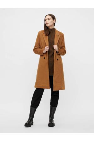 coat OBJLINEA met wol lichtbruin