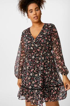gebloemde semi-transparante jurk met contrastbies en plooien zwart/ roze