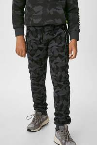 C&A slim fit joggingbroek met camouflageprint grijs, Grijs
