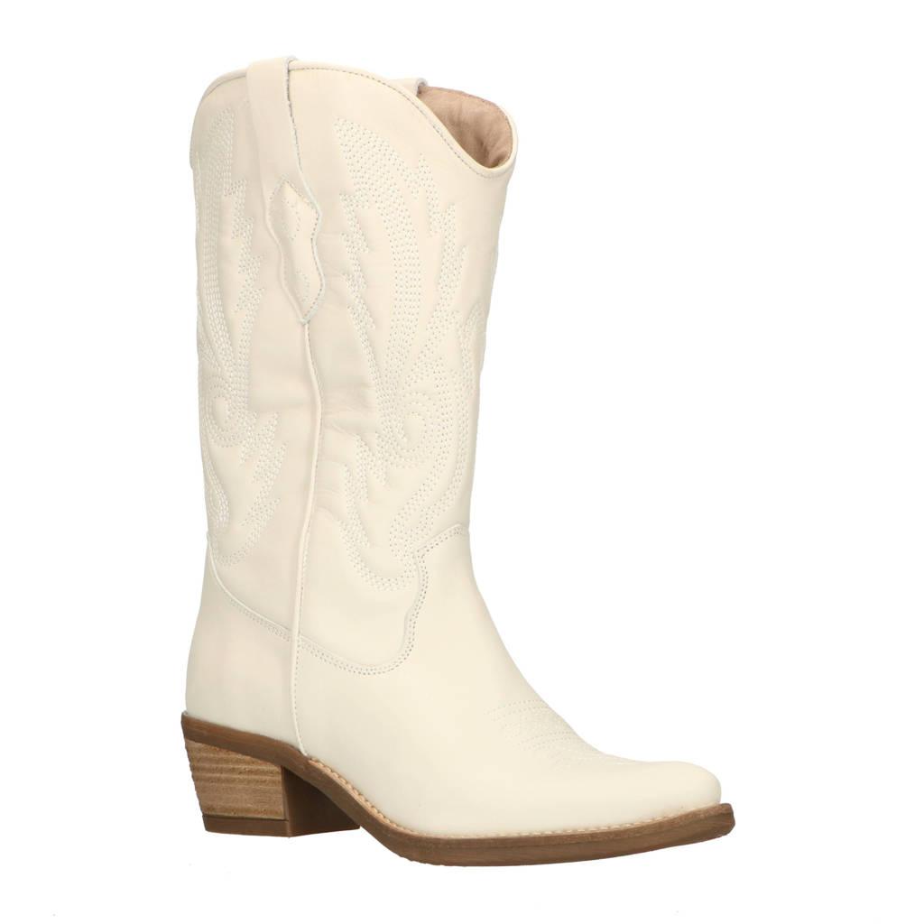 Foot Focus Valquira  leren cowboylaarzen off white, Wit / Off white