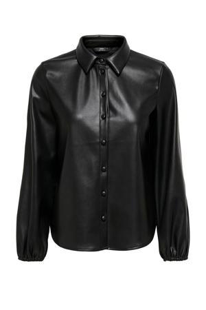 imitatieleren blouse ONLJIL zwart