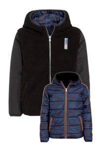 Vingino reversible gewatteerde winterjas Teson met contrastbies donkerblauw/zwart, Donkerblauw/zwart