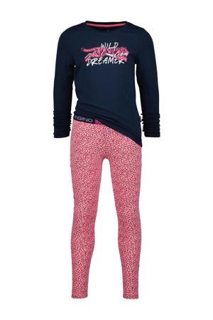 pyjama Wina met all over print roze/donkerblauw