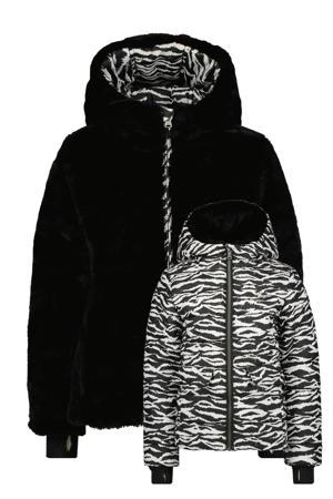 reversible gewatteerde imitatiebont winterjas Tilmira met dierenprint zwart/wit