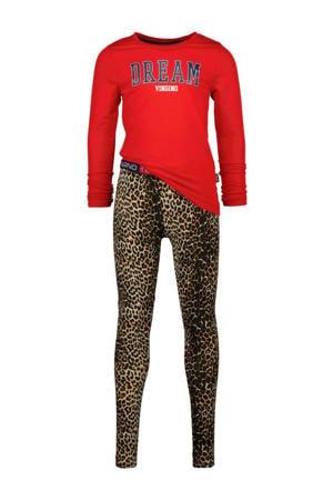 pyjama Wina met panterprint rood/bruin