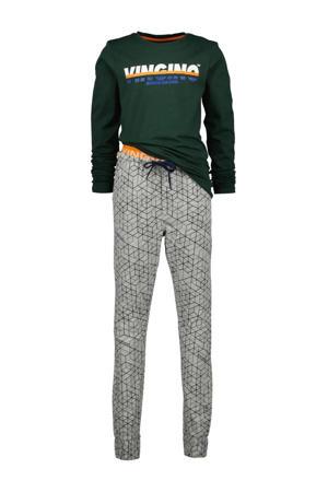 pyjama Windo met all over print donkergroen/grijs
