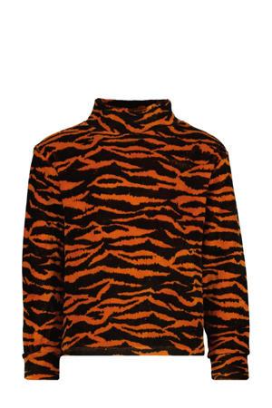sweater Noor met dierenprint roestbruin/zwart