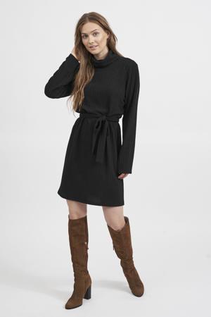 ribgebreide jurk VIELITA met ceintuur zwart