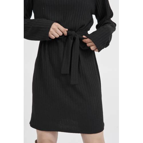 VILA ribgebreide jurk VIELITA met ceintuur zwart