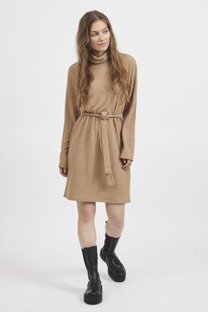 ribgebreide jurk VIELITA met ceintuur camel