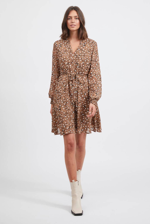 VILA A-lijn jurk VIADELINE met all over print lichtbruin/wit/zwart, Lichtbruin/wit/zwart
