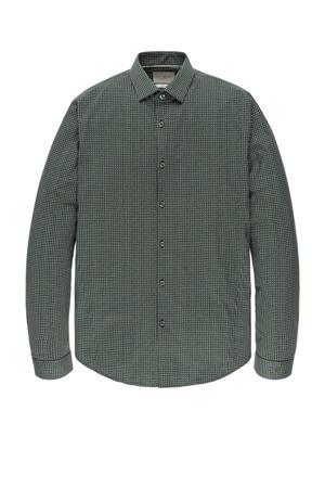 slim fit overhemd met all over print groen