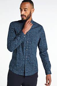 Cast Iron slim fit overhemd met all over print blauw, Blauw