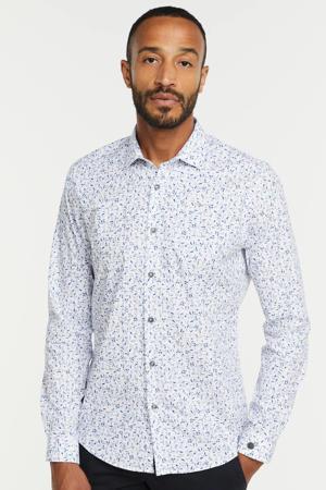 slim fit overhemd met all over print 7003 wit/blauw