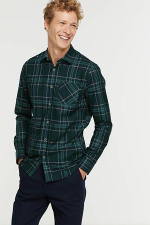 geruit regular fit overhemd 6085 donkergroen