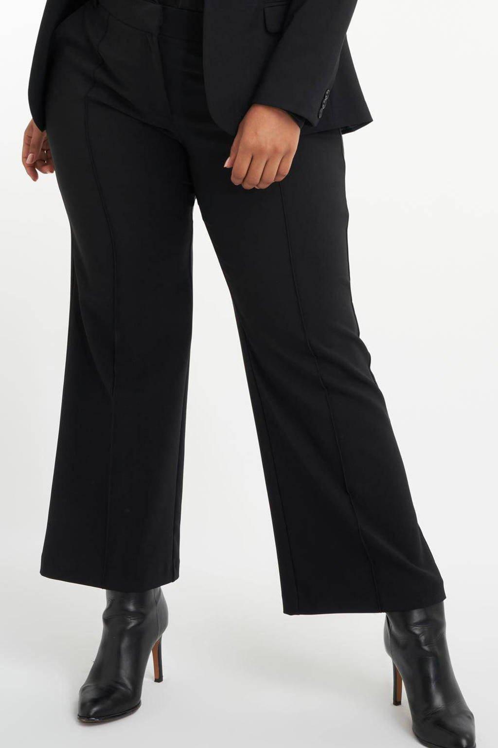 MS Mode wide leg pantalon zwart, Zwart
