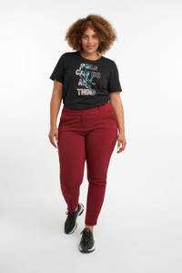 MS Mode T-shirt met tekst zwart/petrol/roze, Zwart/petrol/roze