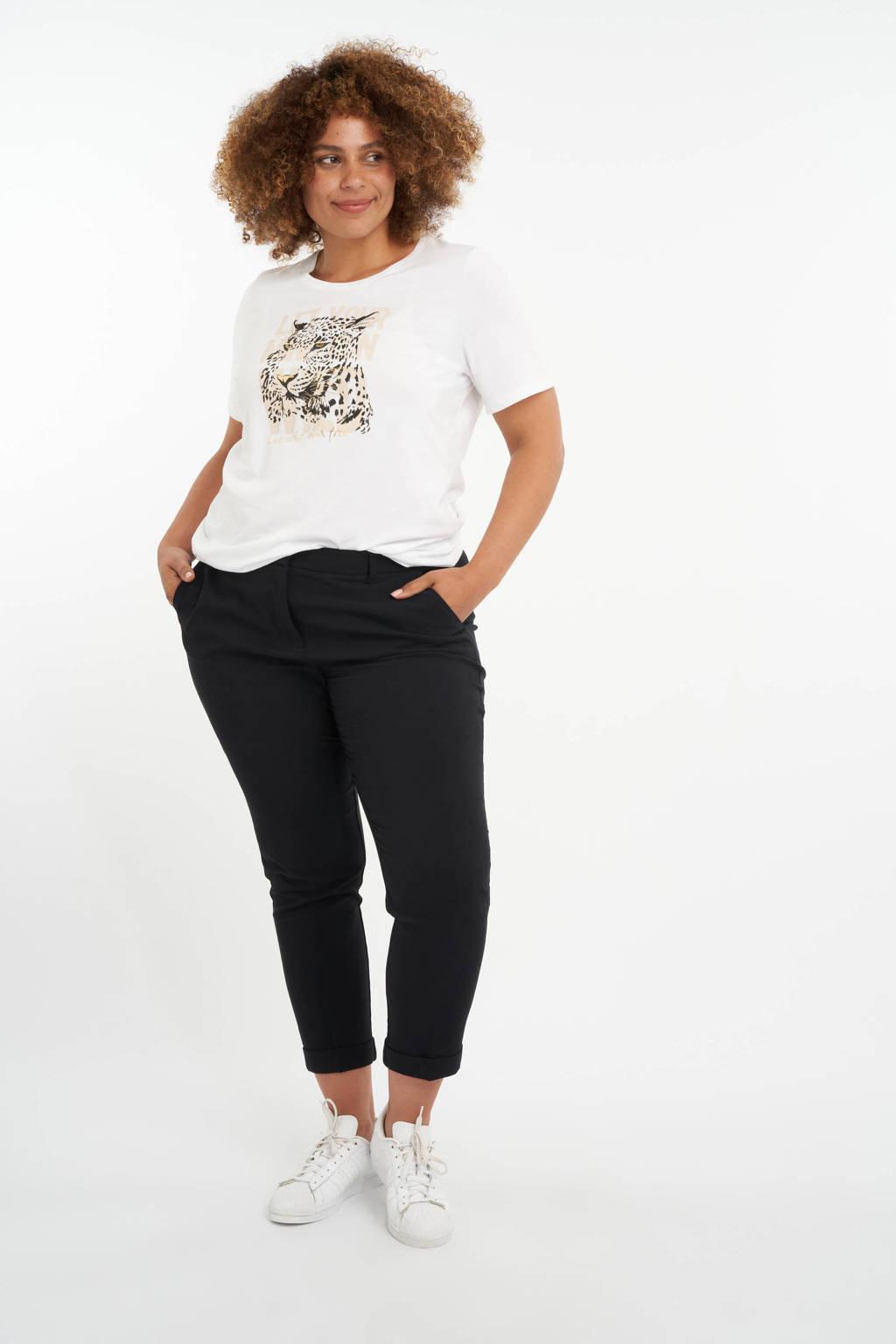 MS Mode T-shirt met printopdruk wit/ecru/zwart, Wit/ecru/zwart