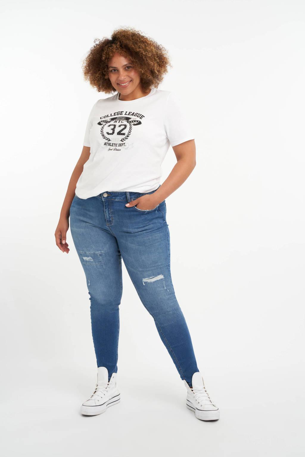 MS Mode T-shirt met printopdruk wit/zwart/zilver, Wit/Zwart/Zilver