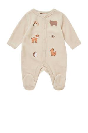 newborn baby boxpak met dierenprint en patches beige