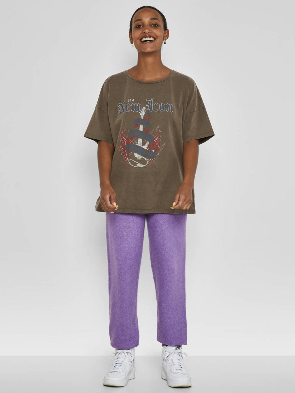 NOISY MAY T-shirt NMIDA met printopdruk bruin, Bruin