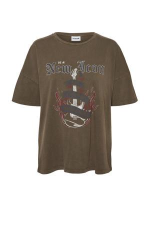 T-shirt NMIDA met printopdruk bruin