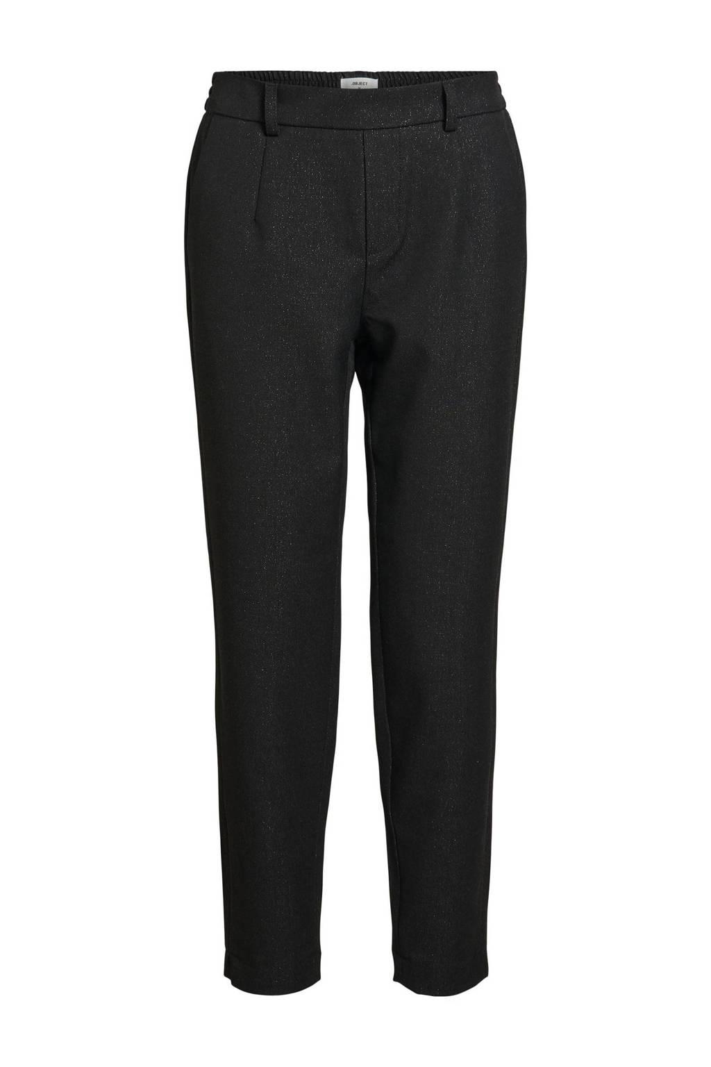 OBJECT tapered fit pantalon OBJLISA van gerecycled polyester zwart, Zwart