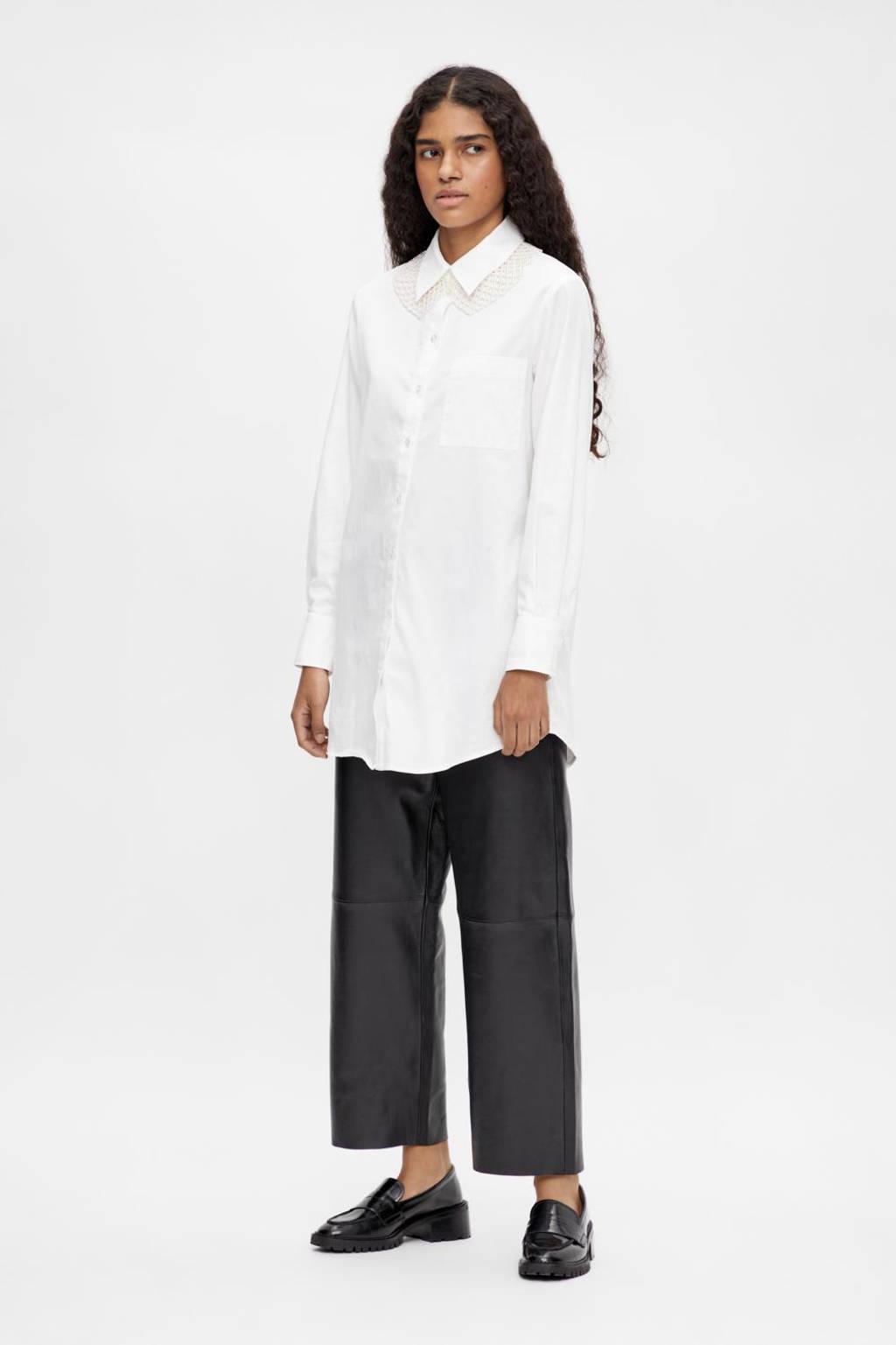 OBJECT blouse OBJROXA met biologisch katoen wit, Wit