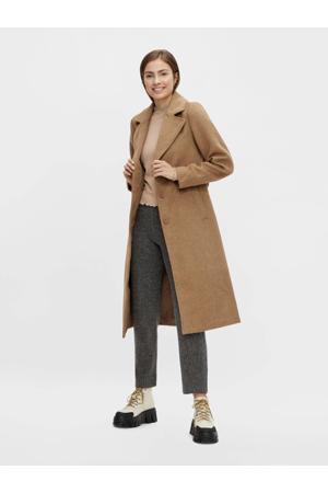 coat Isun met ceintuur bruin