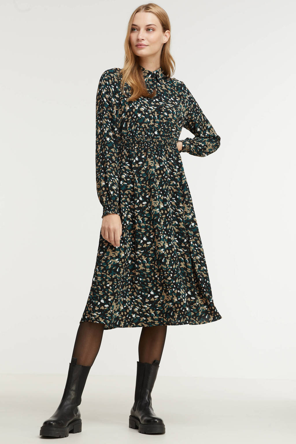 VERO MODA jurk VMSAGA van gerecycled polyester zwart/groen, Zwart/groen