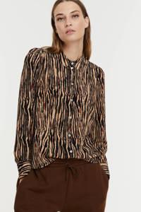 VERO MODA blouse VMSAGA van gerecycled polyester beige/zwart, Beige/zwart