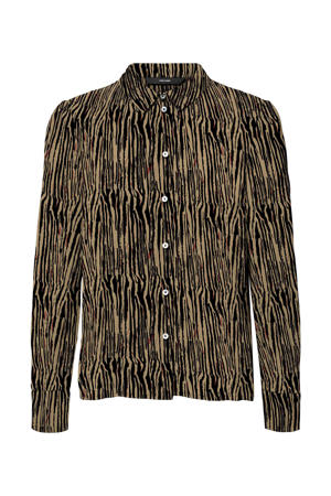 blouse VMSAGA van gerecycled polyester beige/zwart