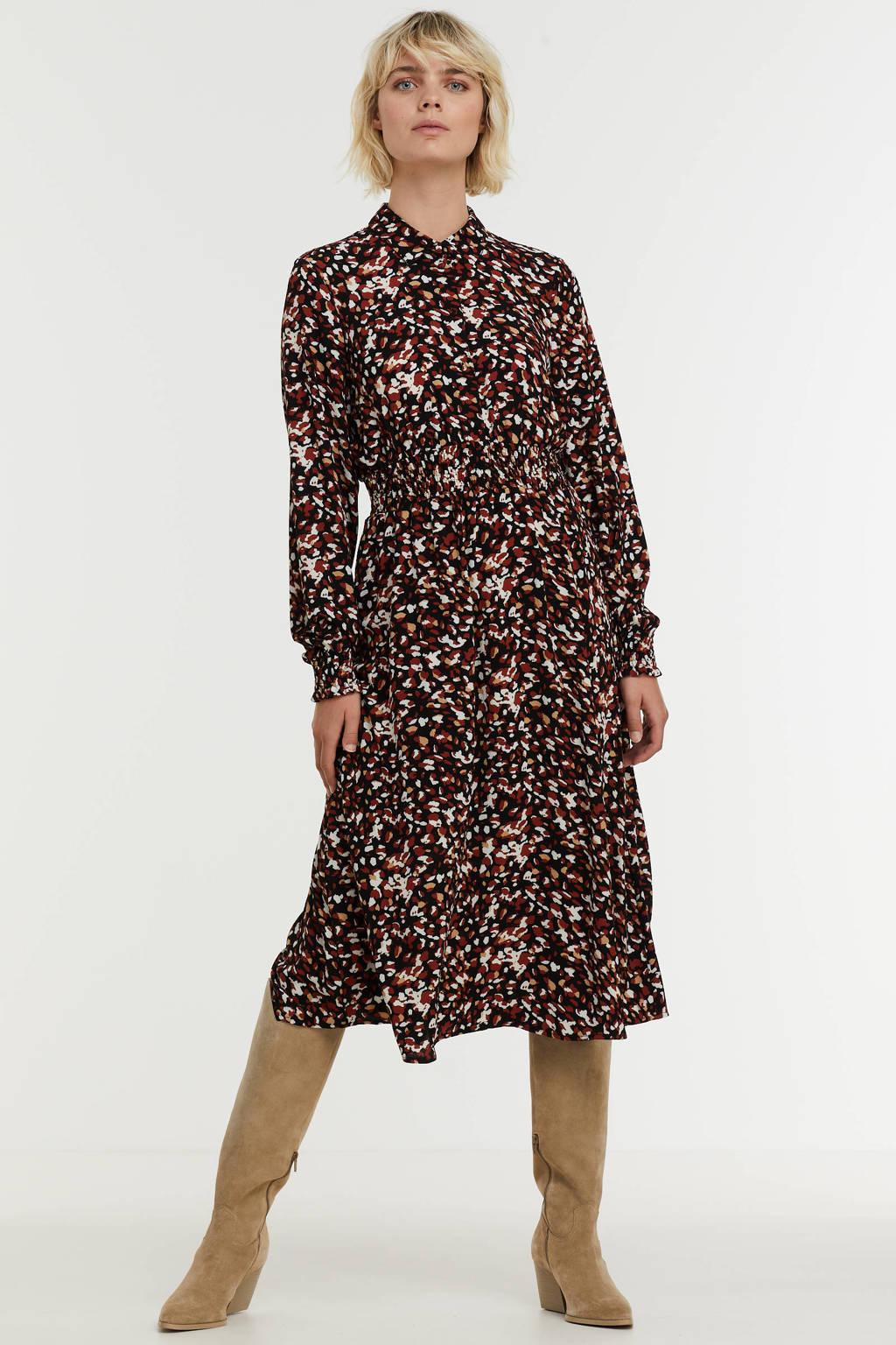 VERO MODA jurk VMSAGA van gerecycled polyester zwart/rood/wit, Zwart/rood/wit